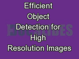 Efficient Object Detection for High Resolution Images