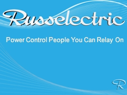 Power Control People You Can Relay On PowerPoint PPT Presentation