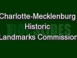 Charlotte-Mecklenburg Historic Landmarks Commission