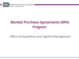 Blanket Purchase Agreements (BPA)