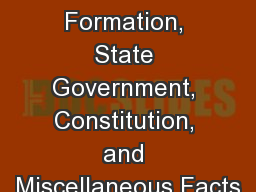 Ohio Formation, State Government, Constitution, and Miscellaneous Facts