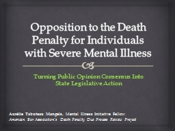 Opposition to the Death Penalty for Individuals with Severe Mental Illness