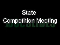 State Competition Meeting