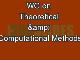 WG on Theoretical & Computational Methods