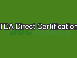 TDA Direct Certification