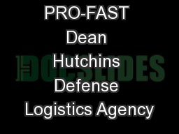 PRO-FAST Dean Hutchins Defense Logistics Agency