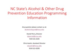 NC State's Alcohol & Other Drug Prevention Education Programming Information