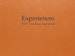 Experiences PDCP – Leo Hayes High School
