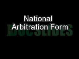 National Arbitration Form