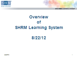 Overview of  SHRM Learning