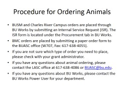 PROCEDURE FOR ORDERING ANIMALS PowerPoint PPT Presentation