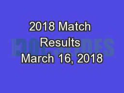 2018 Match Results March 16, 2018