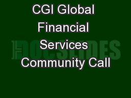 CGI Global Financial Services Community Call