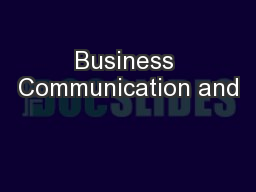 Business Communication and