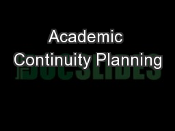 Academic Continuity Planning