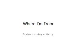 Where I'm From Brainstorming activity