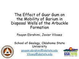 The Effect of Guar Gum on the Mobility of Barium in Disposal Wells of the Arbuckle Formation