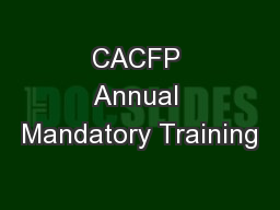 CACFP Annual Mandatory Training