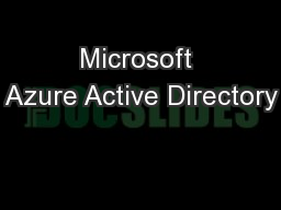Microsoft Azure Active Directory PowerPoint PPT Presentation