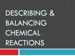 Describing & Balancing Chemical Reactions