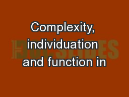 Complexity, individuation and function in