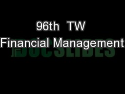 96th  TW Financial Management