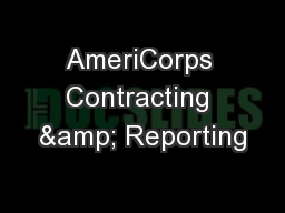 AmeriCorps Contracting & Reporting