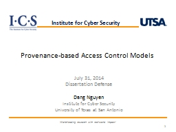 1 Provenance-Based Access Control (PBAC)