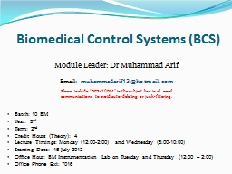 Biomedical Control  Systems (BCS) PowerPoint PPT Presentation