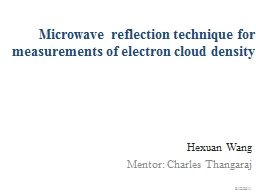 M icrowave reflection technique for measurements of electron cloud density