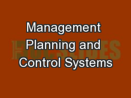 Management Planning and Control Systems