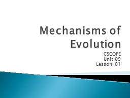 Mechanisms of Evolution CSCOPE
