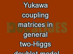 Texture of Yukawa coupling matrices in general two-Higgs doublet model