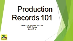 Production  Records 101 Hawaii Child Nutrition Programs