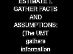 RUNNING ESTIMATE I. GATHER FACTS AND ASSUMPTIONS: (The UMT gathers information concerning the assig