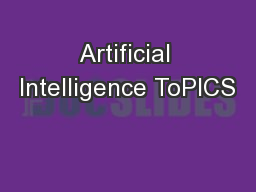 Artificial Intelligence ToPICS