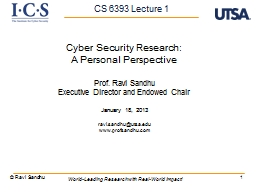 1 Cyber Security Research: