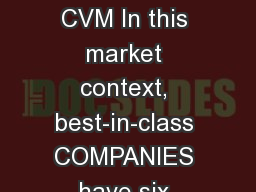 AI- POWERED CVM In this market context, best-in-class COMPANIES have six common core components