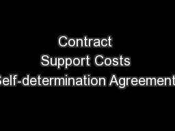 Contract Support Costs Self-determination Agreements