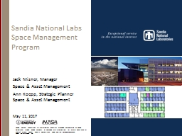Sandia National Labs  Space Management Program