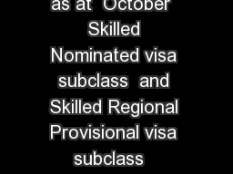NSW State Skilled Occupation List  Skilled Migration  as at  October  Skilled Nominated visa subclass  and Skilled Regional Provisional visa subclass   Subclass  NSW Far South Coast Mid North Coast Mu