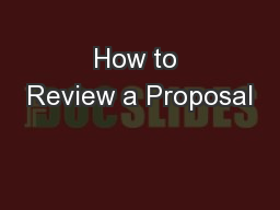 How to Review a Proposal