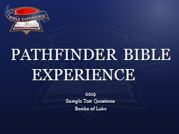 PATHFINDER BIBLE EXPERIENCE PowerPoint Presentation, PPT - DocSlides