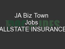 JA Biz Town Jobs ALLSTATE INSURANCE