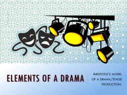 Elements of a Drama    Aristotle's model of a drama/stage production.