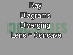 Ray Diagrams Diverging Lens = Concave
