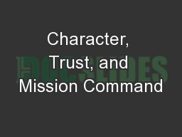 Character, Trust, and Mission Command