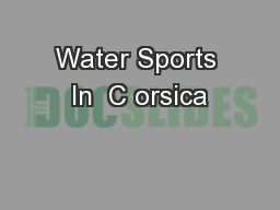 Water Sports In  C orsica