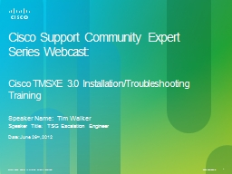 Cisco Support Community Expert Series Webcast:
