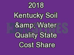2018 Kentucky Soil & Water Quality State Cost Share